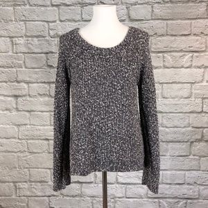 Free People Marled Black/Grey/White Sweater